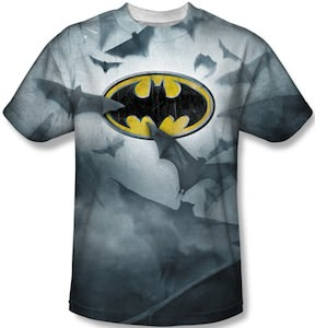 Batman logo and flying bats t shirt for Riddler t shirt with bats