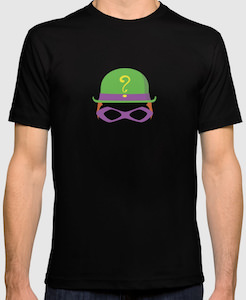 The riddler hat and eye mask t shirt great batman t shirts for Riddler t shirt with bats